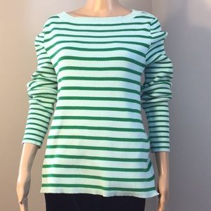 LIZ  CLAIBORNE : GREEN LONG-SLEEVE TOP: Size L